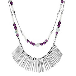 Butterfly by Matthew Williamson - Designer silver double row bead and stick necklace
