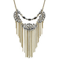 Butterfly by Matthew Williamson - Designer grey crystal tassel double row necklace