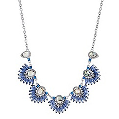 Butterfly by Matthew Williamson - Designer blue statement fan necklace
