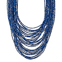 Butterfly by Matthew Williamson - Designer blue beaded multi row necklace
