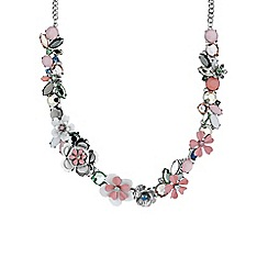Butterfly by Matthew Williamson - Pink pastel floral statement necklace