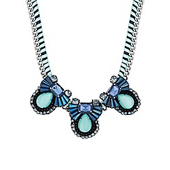 Butterfly by Matthew Williamson - Blue fan statement necklace