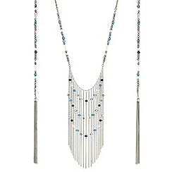 Butterfly by Matthew Williamson - Designer blue beaded tassel wrap around necklace