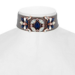 Butterfly by Matthew Williamson - Designer floral crystal choker necklace
