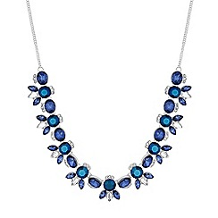 Butterfly by Matthew Williamson - Designer tonal blue crystal cluster necklace