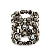 Crystal disc and hematite bead stretch ring