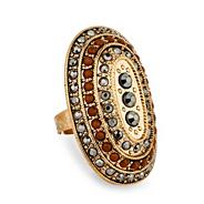 Multicoloured oval crystal row adjustable ring