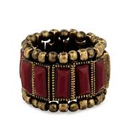 Red panelled antique gold bead stretch ring