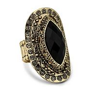 Designer jet oval engraved surround stretch ring