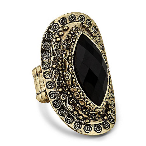 Butterfly by Matthew Williamson - Designer jet oval engraved surround stretch ring