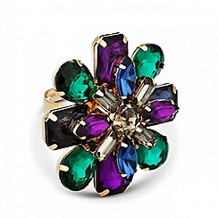 Butterfly by Matthew Williamson - Designer multicoloured flower adjustable ring