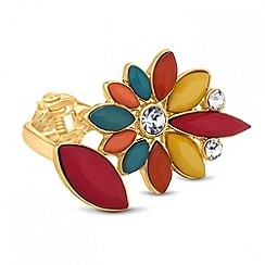 Butterfly by Matthew Williamson - Designer multicoloured flower hinged ring