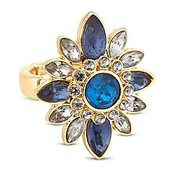 Butterfly by Matthew Williamson - Designer blue mixed cluster stretch ring