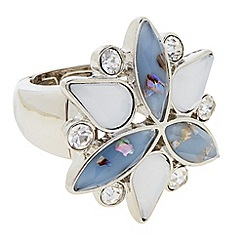 Butterfly by Matthew Williamson - Designer blue cluster glitter stone ring