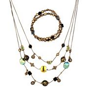 Multi green bead and antique gold illusion necklace and earring set
