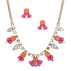 Butterfly by Matthew Williamson - Designer pink mini drop necklace and earring set