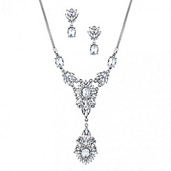 Butterfly by Matthew Williamson - Designer crystal cluster y drop necklace and earring set