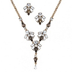 Butterfly by Matthew Williamson - Designer opalesque and grey cluster necklace and earring set