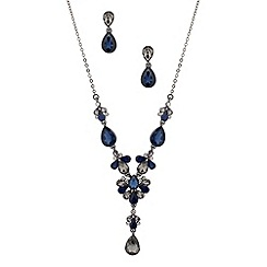 Butterfly by Matthew Williamson - Designer mixed blue peardrop necklace and earring set
