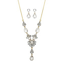 Butterfly by Matthew Williamson - Designer gold crystal peardrop necklace and earring set