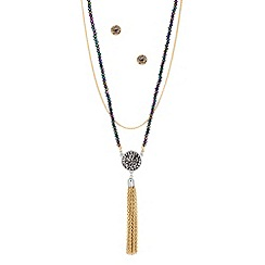 Butterfly by Matthew Williamson - Designer purple bead chain tassel jewellery set