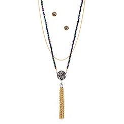 Butterfly by Matthew Williamson - Designer purple bead chain tassel jewellery set