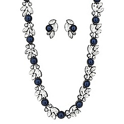Butterfly by Matthew Williamson - Designer blue pearl crystal cluster jewellery set