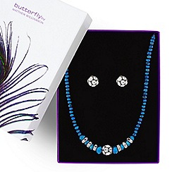 Butterfly by Matthew Williamson - Designer great value crystal and blue bead jewellery set