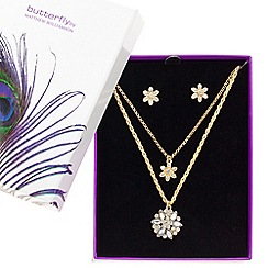 Butterfly by Matthew Williamson - Designer great value crystal flower jewellery set