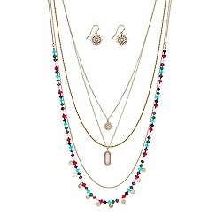 Butterfly by Matthew Williamson - Beaded multi row charm necklace with matching earring