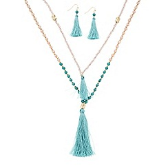 Butterfly by Matthew Williamson - Designer tassel and bead double necklace and matching earring set