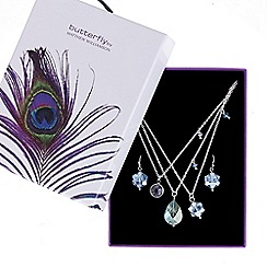 Butterfly by Matthew Williamson - Designer Multi row blue bead charm necklace and earring set