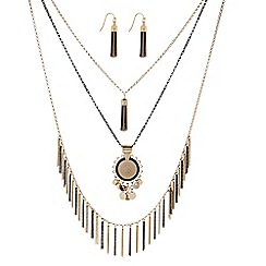 Butterfly by Matthew Williamson - Designer Gold coin fringed necklace and earring set