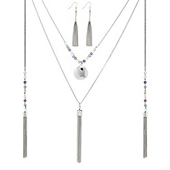 Butterfly by Matthew Williamson - Designer multi row charm tassel necklace and earring set
