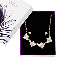 Butterfly by Matthew Williamson - Designer gold crystal triangle necklace and earring set
