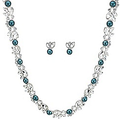 Butterfly by Matthew Williamson - Designer teal pearl and crystal necklace and earring set