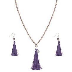 Butterfly by Matthew Williamson - Purple beaded tassel jewellery set