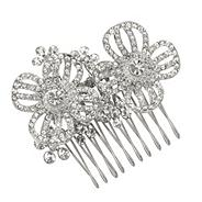 Silver crystal double flower comb