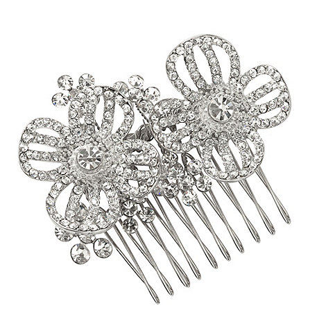 Butterfly by Matthew Williamson - Designer silver crystal double flower comb