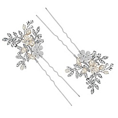 Butterfly by Matthew Williamson - Designer leaf and pearl hair pin set