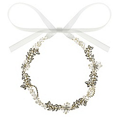 Butterfly by Matthew Williamson - Designer gold crystal leaf hair ribbon