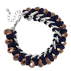 Butterfly by Matthew Williamson - Facet stone and blue suede cord bracelet