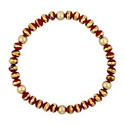 Butterfly by Matthew Williamson - Red and gold mini bead stretch bracelet