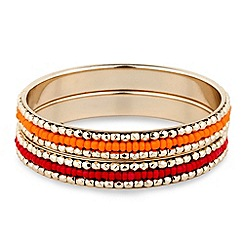 Butterfly by Matthew Williamson - Orange and red beaded double bangle set