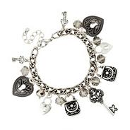 Antique silver multi charm and facet bead bracelet