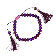 Purple glass bead with tassel bracelet
