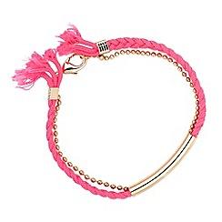 Butterfly by Matthew Williamson - Designer neon pink plaited friendship bracelet