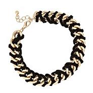 Designer jet and gold thread wrapped bracelet