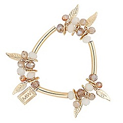 Butterfly by Matthew Williamson - Designer gold tube and pretty charm drop bracelet