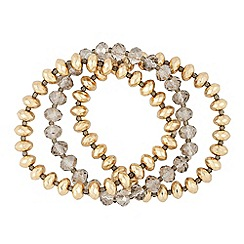 Butterfly by Matthew Williamson - Designer gold and grey bead stretch bracelet pack